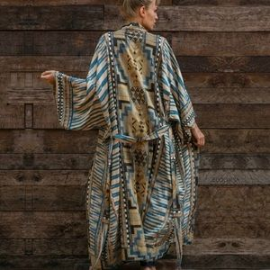 NEW Blue Aztec Long Robe Layering Coverups